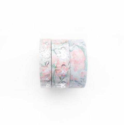 BUNDLE - WASHI 15/10mm set of 3 - Grey Mist Floral BOW/Glitter