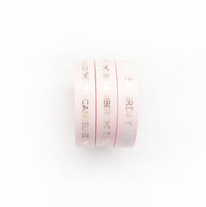 BUNDLE - PERFORATED WASHI TAPE 10mm set of 3 - PINK Days of the Week/Tasks/Cancelled + Lt. Gold