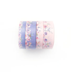 BUNDLE - WASHI 15/10mm set of 4 - Floral Floor PINK/PURPLE + Lt. Gold OOPS