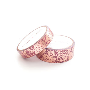 WASHI TAPE 15/10mm set - BURGUNDY LACE + rose gold (May Release, Presale) LIMIT of 2