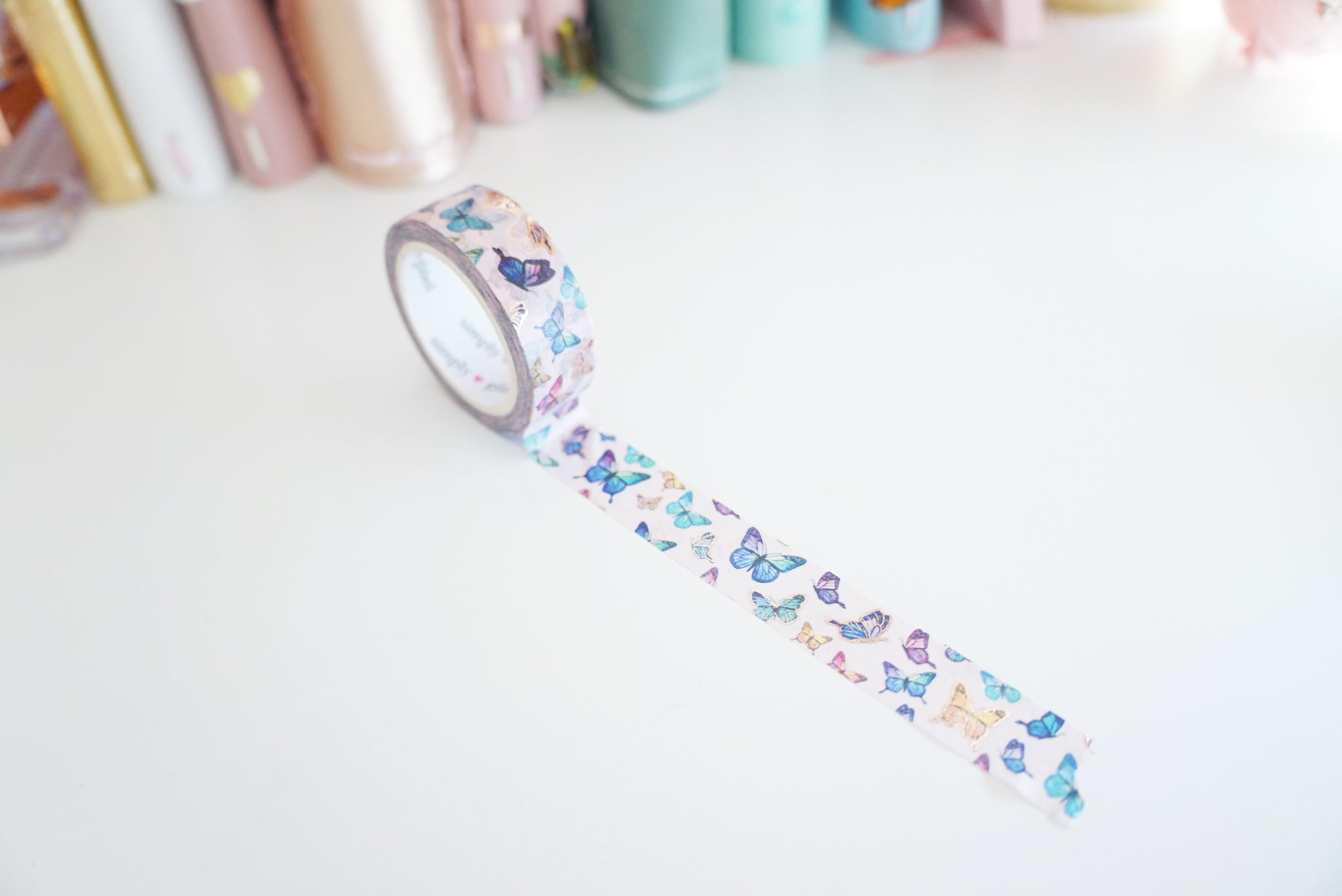 Pink butterfly with rose gold foil washi tape