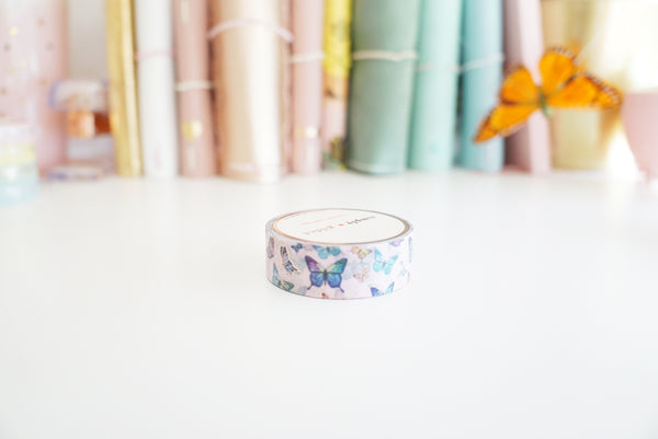 WASHI TAPE 15mm - Pink butterfly + rose gold (Mystery Monday)