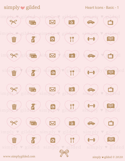 STICKERS - PEACHY PINK Heart ICONS sticker sheet + you choose foil (March 10 Release)
