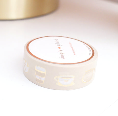 WASHI TAPE 15mm ICED BLONDE VANILLA LATTE / Caffeine Love 3.0 + light gold foil (New Release)