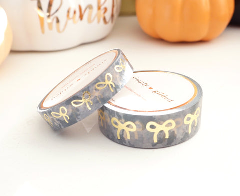 WASHI TAPE 15/10mm bow CAMOUFLAGE + lt. gold foil bow (October 2019 Release)