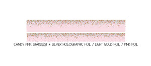 PRESALE - WASHI TAPE 15/10mm set - Candy Stardust PINK + silver holographic/lt. gold/pink foil (February Presale 2020)