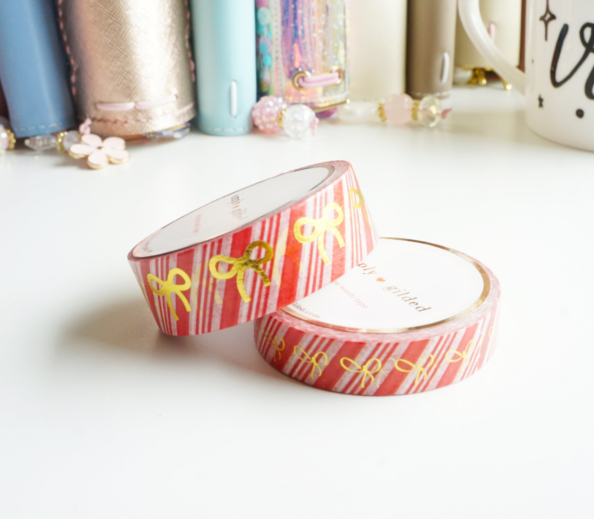 WASHI TAPE 15/10mm - CANDY CANE Bow and GOLD foil (Mystery Monday)