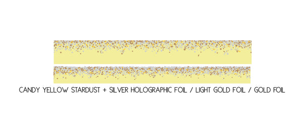 WASHI TAPE 15/10mm set - CANDY Stardust YELLOW + silver holographic/lt. gold/gold (May Release, Presale) - LIMIT of 2