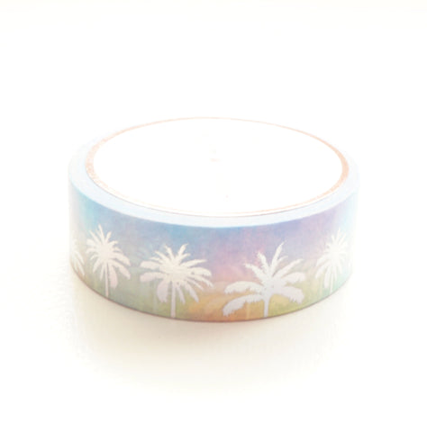 WASHI TAPE 15mm  - CANDY PALMS + holographic silver foil (May 29th Release)