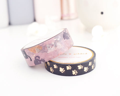 WASHI TAPE 15/10mm set CAT'S MEOW and PAW PRINTS + light gold foil (August 2 release)