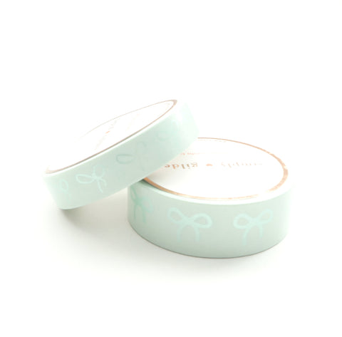 WASHI TAPE 15/10mm BOW set - Chic GREEN + pearl green (May Release)