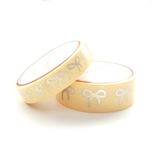 WASHI TAPE 15/10mm BOW set - Chic YELLOW + matte gold