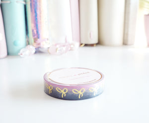 Black and pink variation ombre + gold foil bow 10mm washi tape -LIMIT 1 -  (Easter egg hunt)