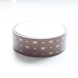 WASHI 15mm - Chocolate tone-on-tone HEART & BOW + chocolate foil