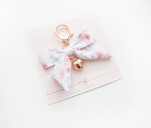 CHARM - Clarity Floral bow with heart charm + rose gold hardware (Clarity)