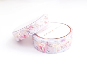 WASHI 15/10mm BOW set - CLARITY FLORAL + rose gold foil bows (Clarity)