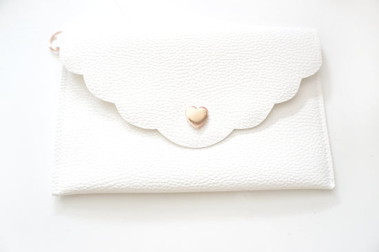 POUCH - CLARITY cream vegan leather scallop edge + rose gold hardware (Mystery Monday)