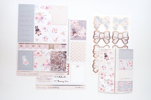 LUXE STICKER set - CLARITY luxe stickers, mini sheet and bow seals + rose gold foil (Clarity)