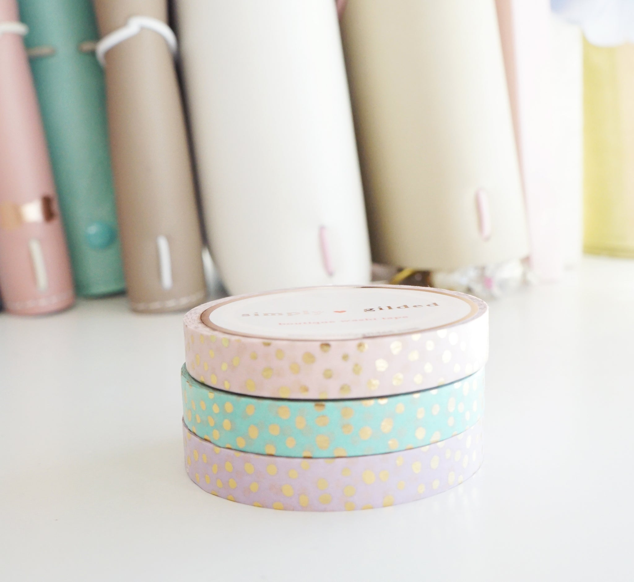 WASHI TAPE 7.5mm set of 3 CONFETTI CLASSIC DOTS + champagne gold foil (Last Chance)