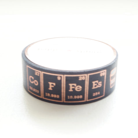 WASHI TAPE 15mm  - COFFEE Chemistry + rose gold foil (May 29th Release)