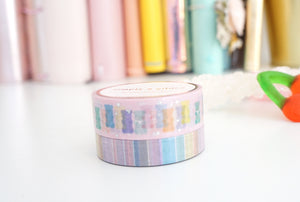 WASHI TAPE 15/10mm set PASTEL GUMMY BEAR 2.0 & CONFECTIONS STRIPE + holographic silver foil/light purple foil (confections release) - Limit 2