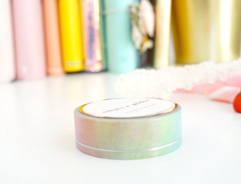 WASHI TAPE 15mm RAINBOW OMBRÉ SIMPLE LINE + holographic silver foil (confections release) - Limit 2