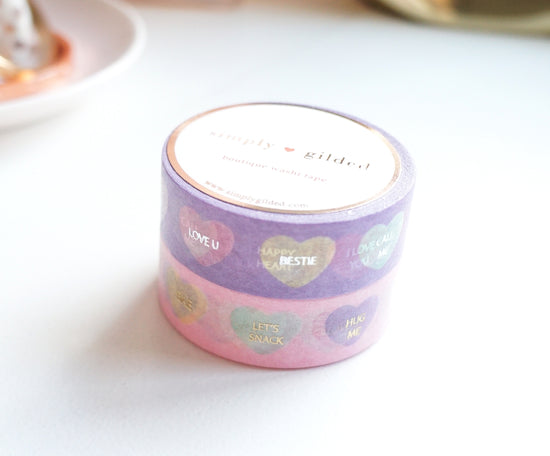 WASHI TAPE 15/15mm set of 2 - CONVERSATION HEARTS + lt. gold / silver foil