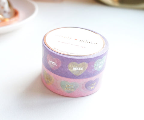 WASHI TAPE 15/15mm set of 2 - CONVERSATION HEARTS + lt. gold / silver foil  (January 10 Release)