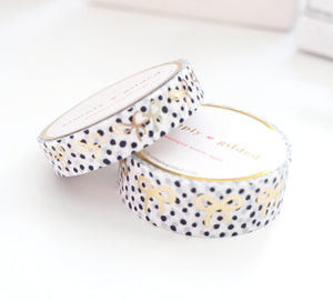 WASHI TAPE 15/10mm BOW set - DALMATIAN + champagne gold foil BOW