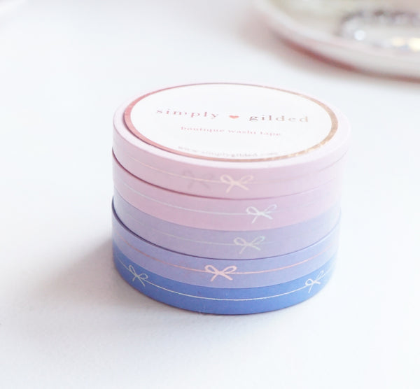 WASHI TAPE 6mm set of 5 - LOVE SIMPLE BOW LINE + silver holographic/rose gold foil 2019 12 days box/D11 (January 31 Mini Release)