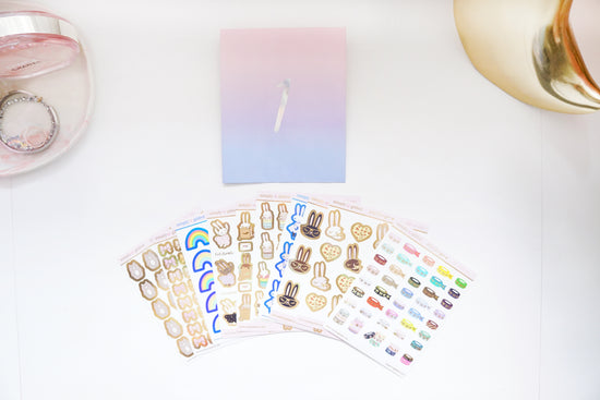 STICKER set - 10 sheets xoxoJuniper + gold holographic/blue holographic foil 2019 12 days box/D1