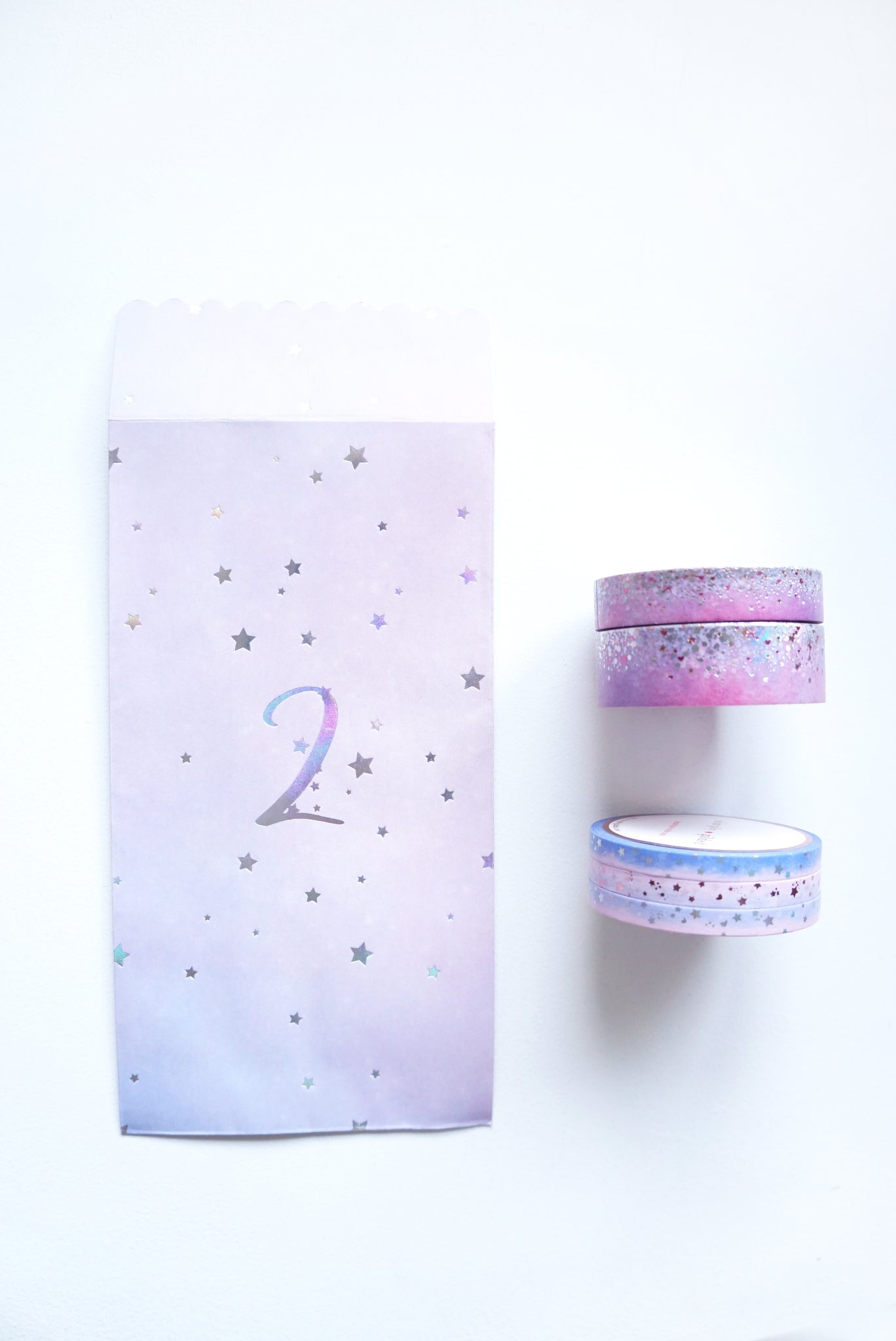 WASHI TAPE 15/10/5mm x 3 set of 3 - LOVE STARDUST & 5mm ombre shooting star + silver holographic/rose gold/pink foils 2019 12 days box/D2 (January 31 Mini Release)