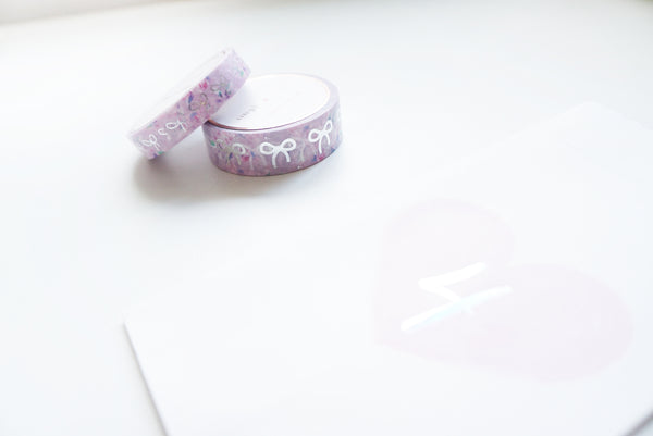 WASHI TAPE 15/10mm BOW set - Love LILAC Floral + silver foil 2019 12 days box/D4 (January 31 Mini Release)