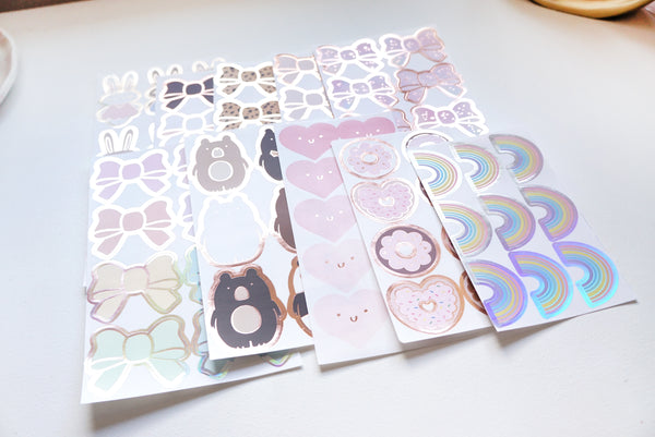LABEL/SEAL set of 10 sheets - LOVE foiled seal collection + gold/rose gold/silver holographic foil 2019 12 days box/D5 (January 31 Mini Release)