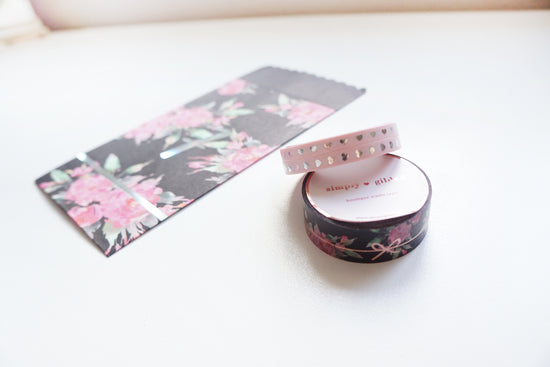 WASHI TAPE 15/5mm x 2 set of 3 - BLACK FLORAL SIMPLE BOW LINE/BLUSH HEARTS + rose gold/silver foil 2019 12 days box/D7