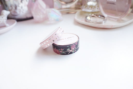 WASHI 15/5/5mm - BLACK FLORAL SIMPLE BOW LINE/BLUSH HEARTS + rose gold/silver (Mystery Monday)
