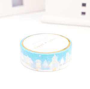 WASHI TAPE 15mm - DAYBREAK Village Scape + light GOLD foil
