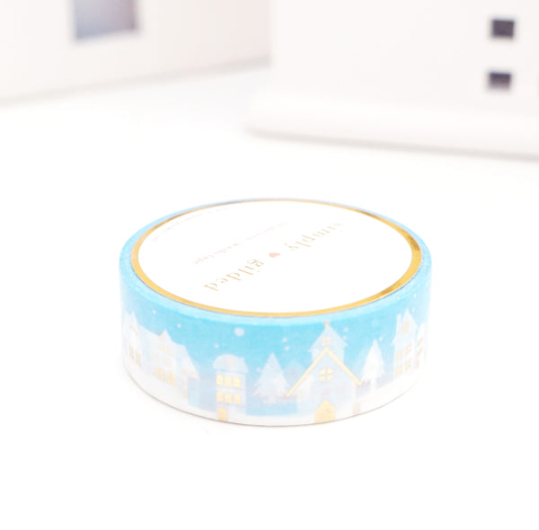 WASHI TAPE 15mm - DAYBREAK Village Scape + light GOLD foil (November 8 Holiday Release)