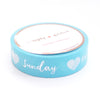 PERFORATED WASHI TAPE 13mm - Days of the Week SKY BLUE + silver foil