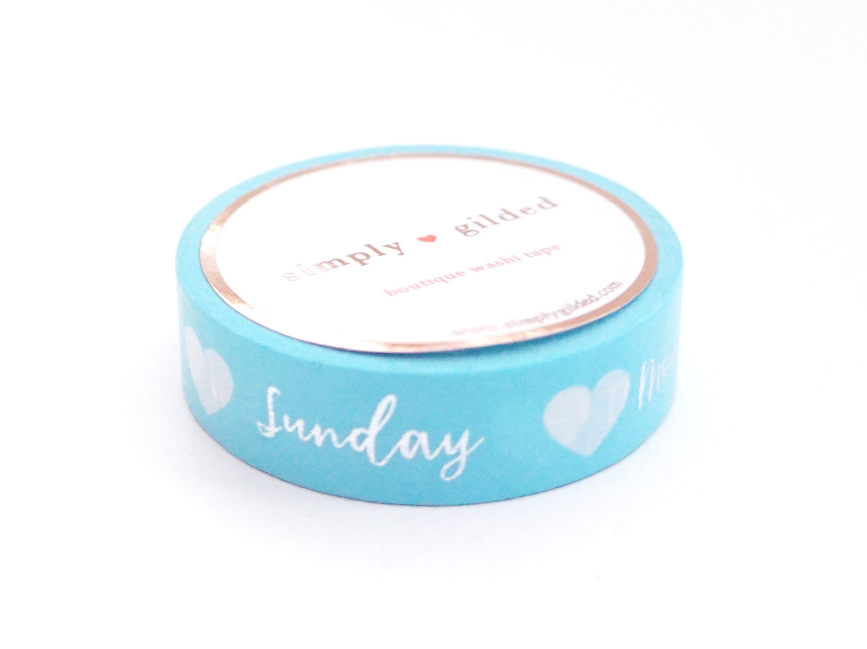 PERFORATED WASHI TAPE 13mm - Days of the Week SKY BLUE + silver foil (Spring Release)