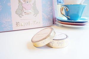 Royal Tea GOLD foil + white bows washi set - 15mm and 10mm (Royal Tea)
