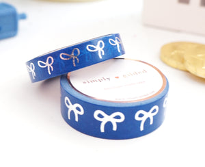 WASHI TAPE 15/10mm BOW set - DEEP BLUE + silver foil