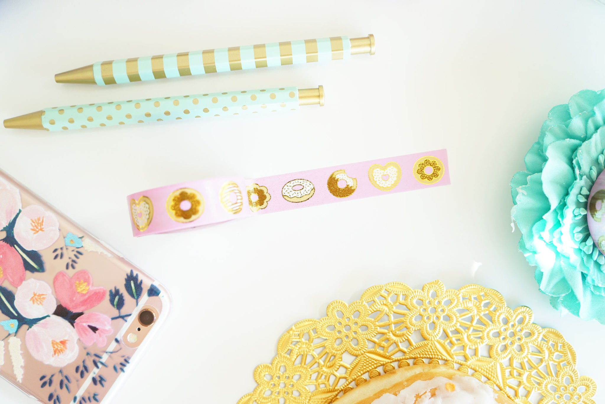 Donut washi tape - gold foil - The Lovely Collection - 15mm