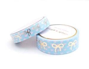 WASHI TAPE 15/10mm bow set - Polka Heart SPRING BLUE and pink + lt. gold foil bow