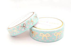 WASHI TAPE 15/10mm bow set - Polka Heart MINT and pink + lt. gold foil bow (Spring Release)