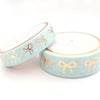 WASHI 15/10mm bow set - Polka Heart MINT and pink + lt. gold foil bow (Mystery Monday)