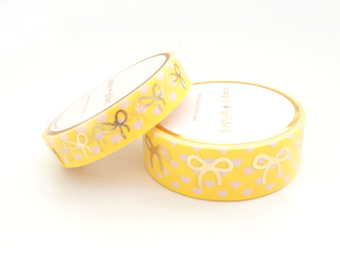 WASHI TAPE 15/10mm bow set - Polka Heart YELLOW and pink + lt. gold foil bow (Spring Release)