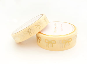 WASHI TAPE 15/10mm BOW set - SUNNY Yellow + Holo Gold (RESTOCK)