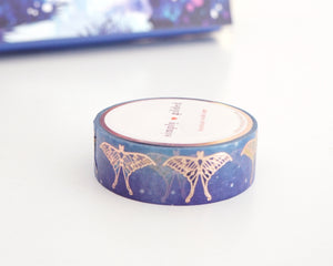 WASHI TAPE 15mm set  - Enchanted Forest MOTH OMBRE + rose gold (Mystery Monday)