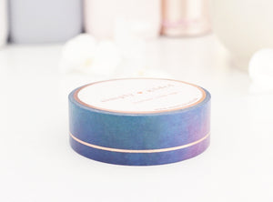 WASHI TAPE 15mm ENCHANTED SIMPLE LINE + rose gold foil (Mystery Monday)